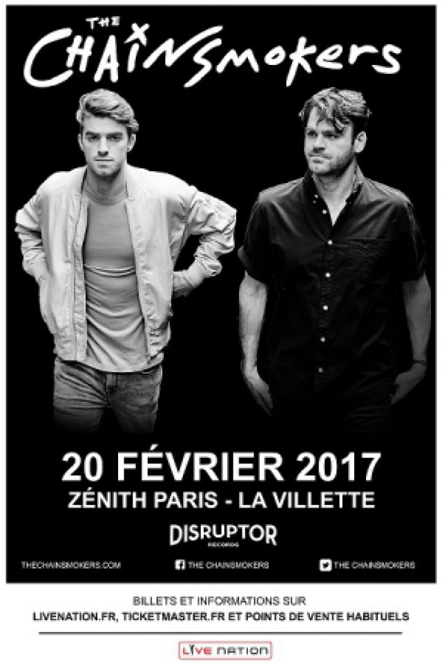 Billets THE CHAINSMOKERS - Zénith Paris La Villette