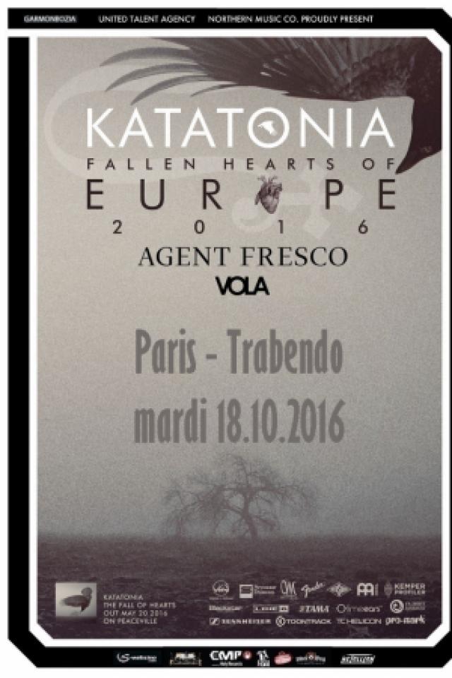 """KATATONIA """"Fallen Hearts of Europe Tour 2016""""+ AGENT FRESCO+ VOLA @ Le Trabendo - Paris"""