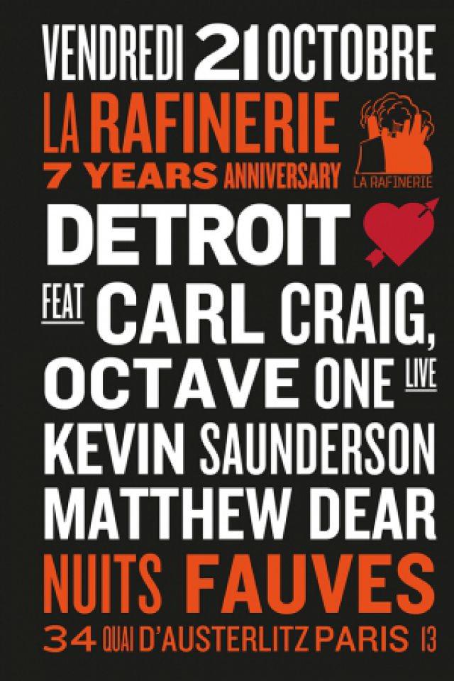 Soirée DETROIT LOVE : Carl Craig, Octave One, Kevin Saunderson, Matthew