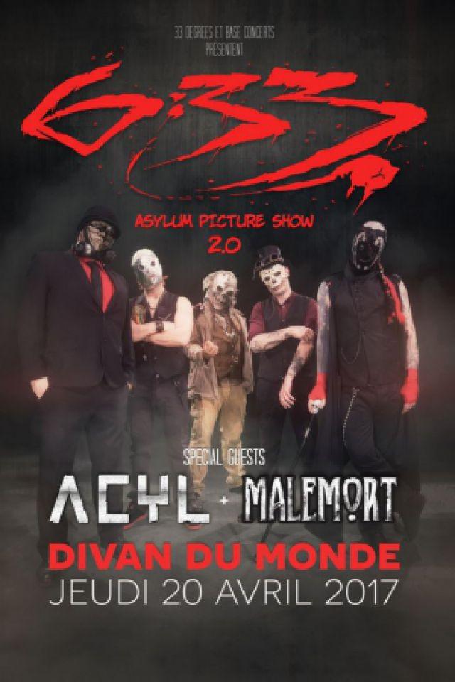 """Concert 6:33 + ACYL + MALEMORT """"Asylum picture show 2.0"""" à Paris @ Divan du Monde - Billets & Places"""