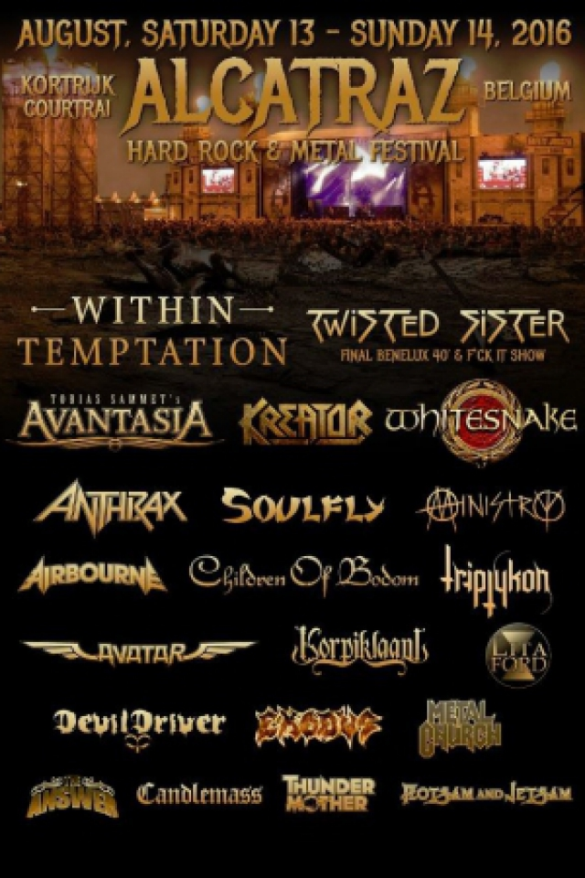 Alcatraz Hard Rock & Metal Festival 2016 - Dayticket Dimanche @ Sportcampus Lange Munte - Kortrijk