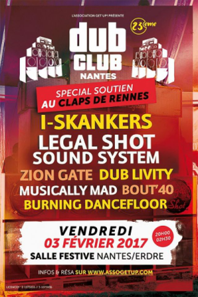 NANTES DUB CLUB #23 : LEGAL SHOT SOUND SYSTEM + I-SKANKERS + BOUT @ Salle Festive Nantes-Erdre - NANTES
