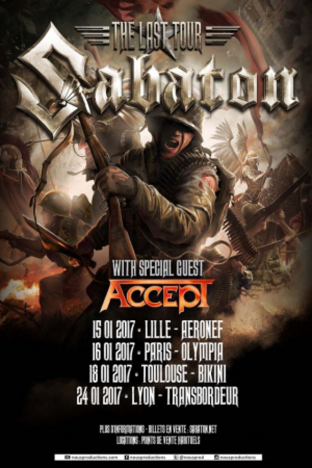 Concert SABATON à Paris @ L'Olympia - Billets & Places