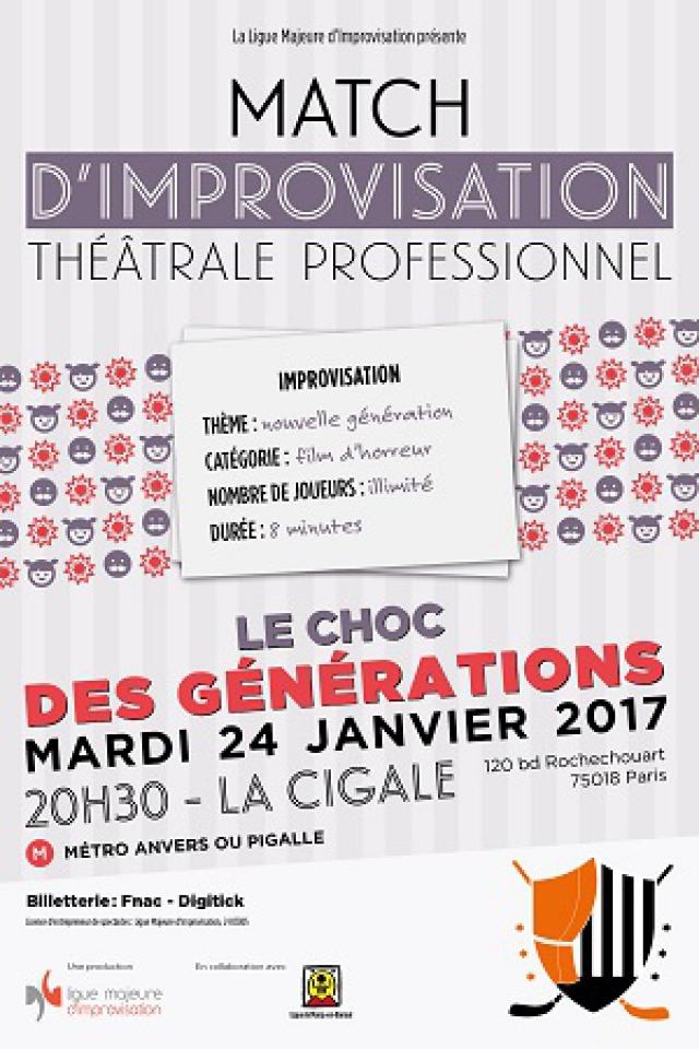 """Billets Match d'impro professionnel """"Le choc des Générations"""" - La Cigale"""