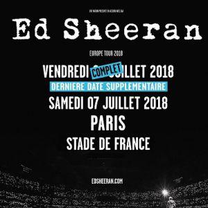 Concert ED SHEERAN à SAINT DENIS @ Stade de France - Billets & Places